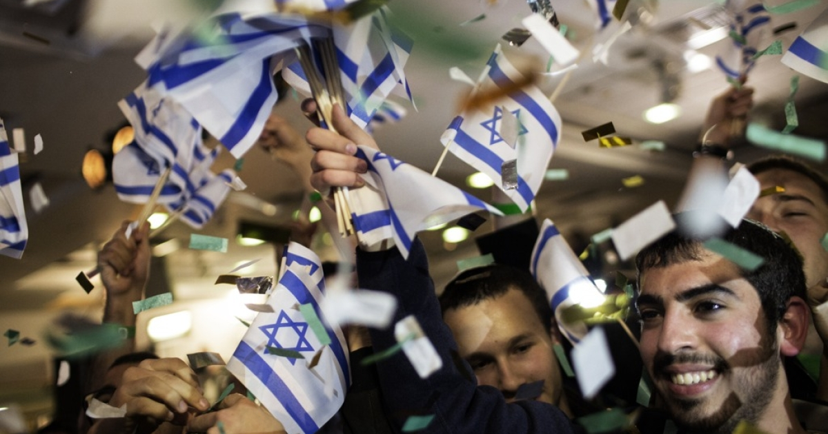 Israelis celebrate after Tuesday's election.</p>