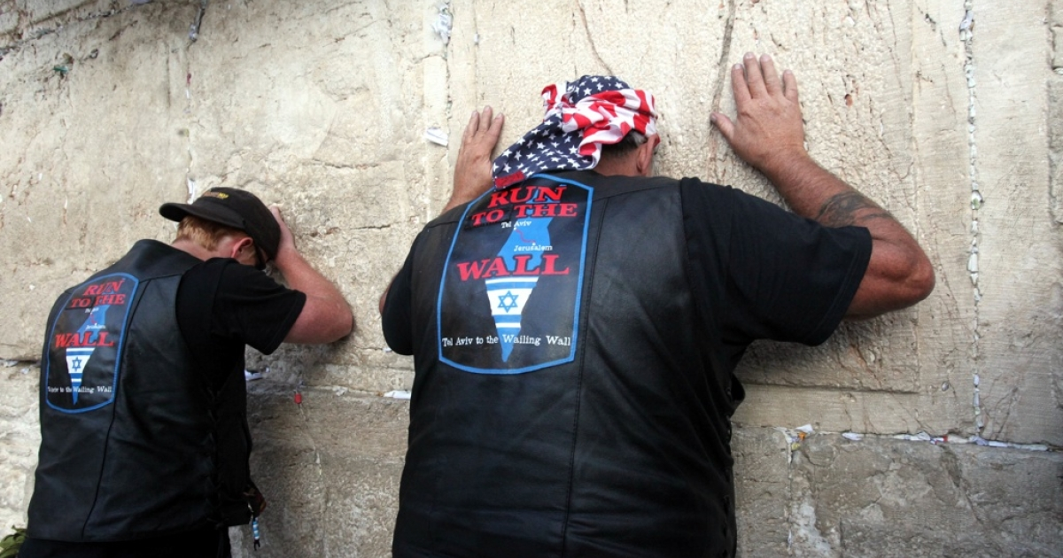 Evangelical Christian Harley-Davidson bikers visit the Western Wall.</p>