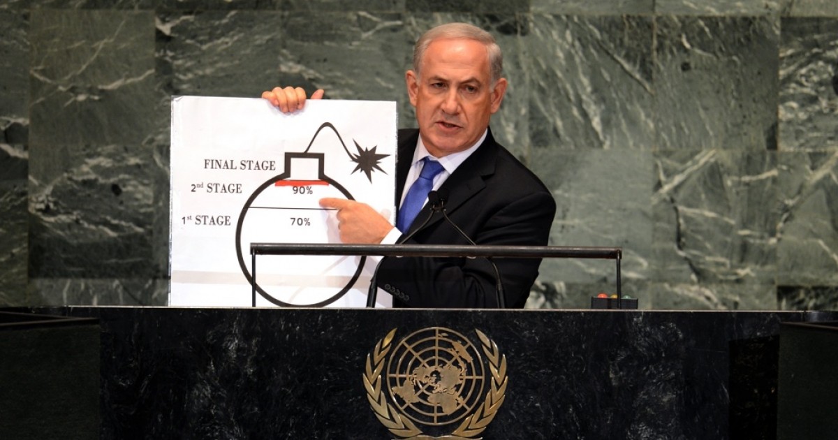 Benjamin Netanyahu, prime minister of Israel, uses a diagram of a bomb to describe Iran's nuclear program at the United Nations General Assembly in September 2012.</p>