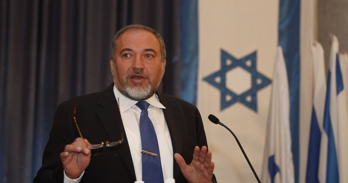 Israel's Foreign Minister Avigdor Lieberman speaks during a press conference at his office in Jerusalem on September 13, 2012.</p>