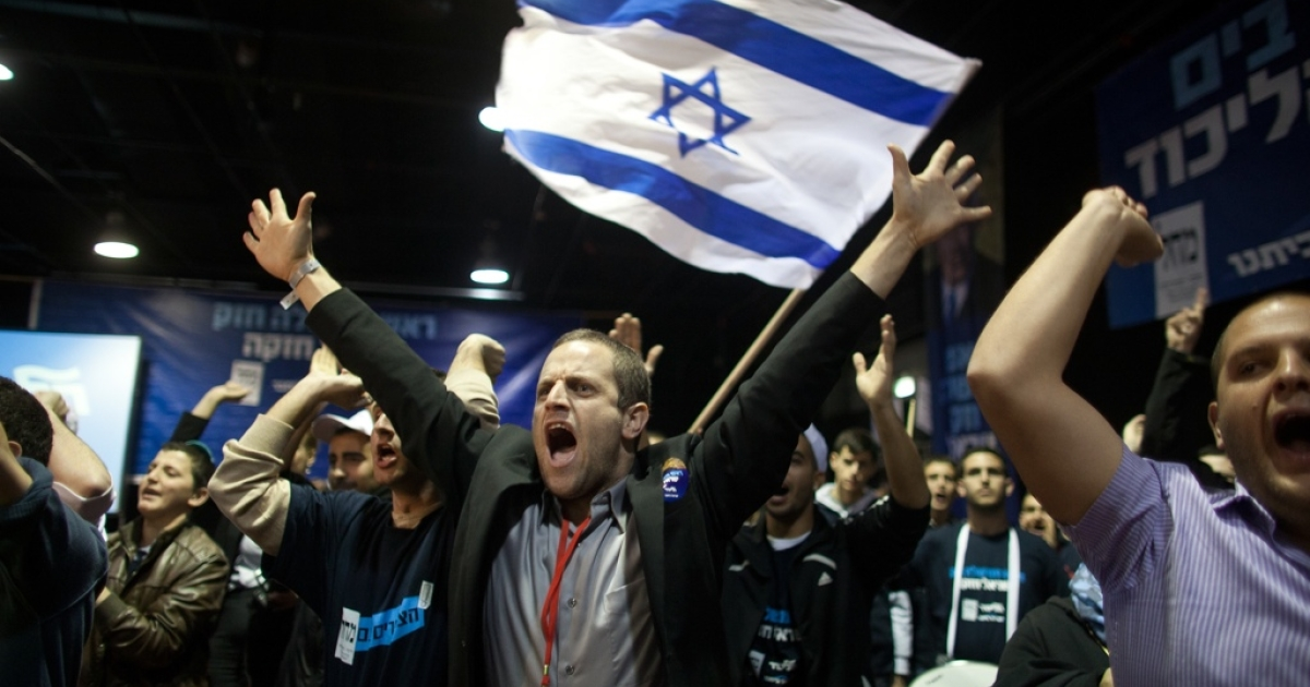 Supporters of Israeli Prime Minister Benjamin Netanyahu on Jan. 22, 2013 at his election campaign headquarters in Tel Aviv, Israel.</p>
