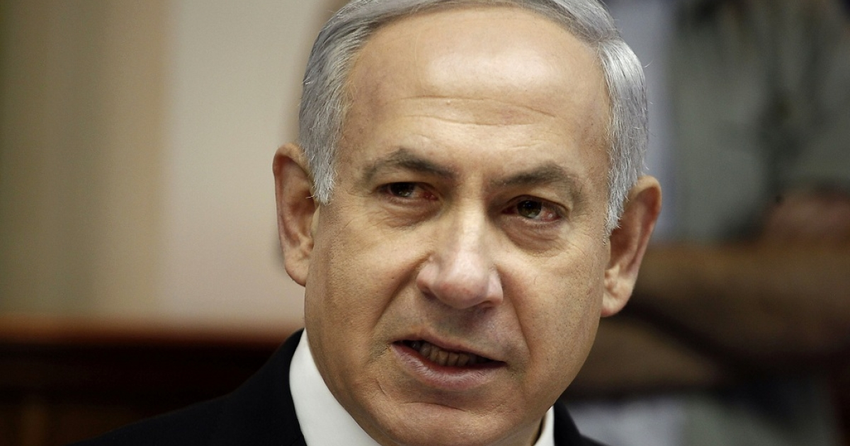 Israeli Prime Minister Benjamin Netanyahu tell the weekly cabinet meeting at his Jerusalem office on May 7, 2012 that he will attempt to pass a bill to dissolve the parliament and set a date for new elections.</p>