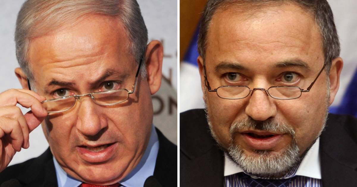 A combo of two pictures shows Israeli Prime Minister Benjamin Netanyahu (L) and Avigdor Lieberman, from the ultra-nationalist Yisrael Beitenu party. Netanyahu and Lieberman plan to merge their right-wing parties ahead of next year's elections.</p>