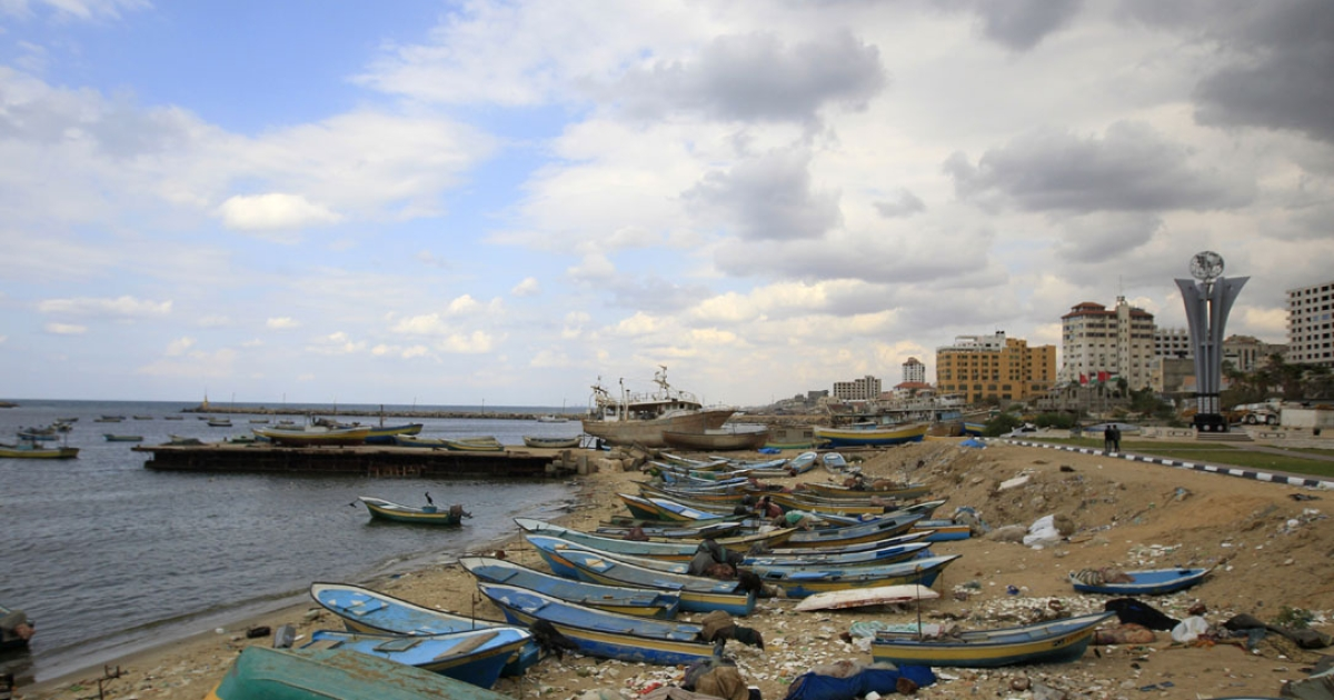 A picture shows the port in Gaza City on November 4, 2011 as pro-Palestinian activists on two foreign aid ships heading to the blockaded Gaza Strip were preparing to be boarded after the Israeli navy made radio contact with them.</p>