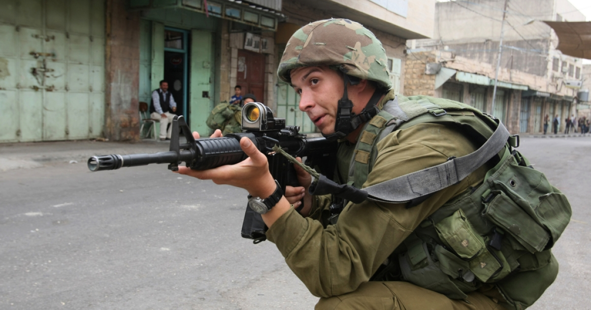 An Israeli soldier in the West Bank.</p>