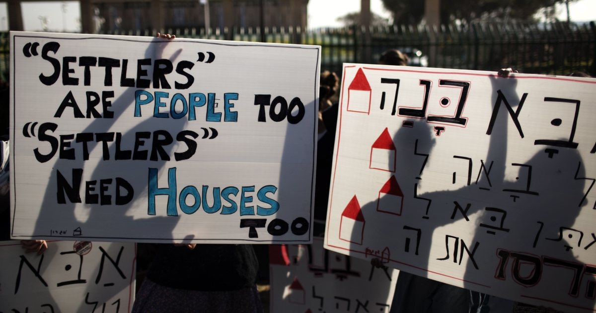 Dozens of Israeli settlers demonstrate in November in front of the Knesset, Israel's parliament in Jerusalem against their government's decision to dismantle some of the West Bank settlements.</p>
