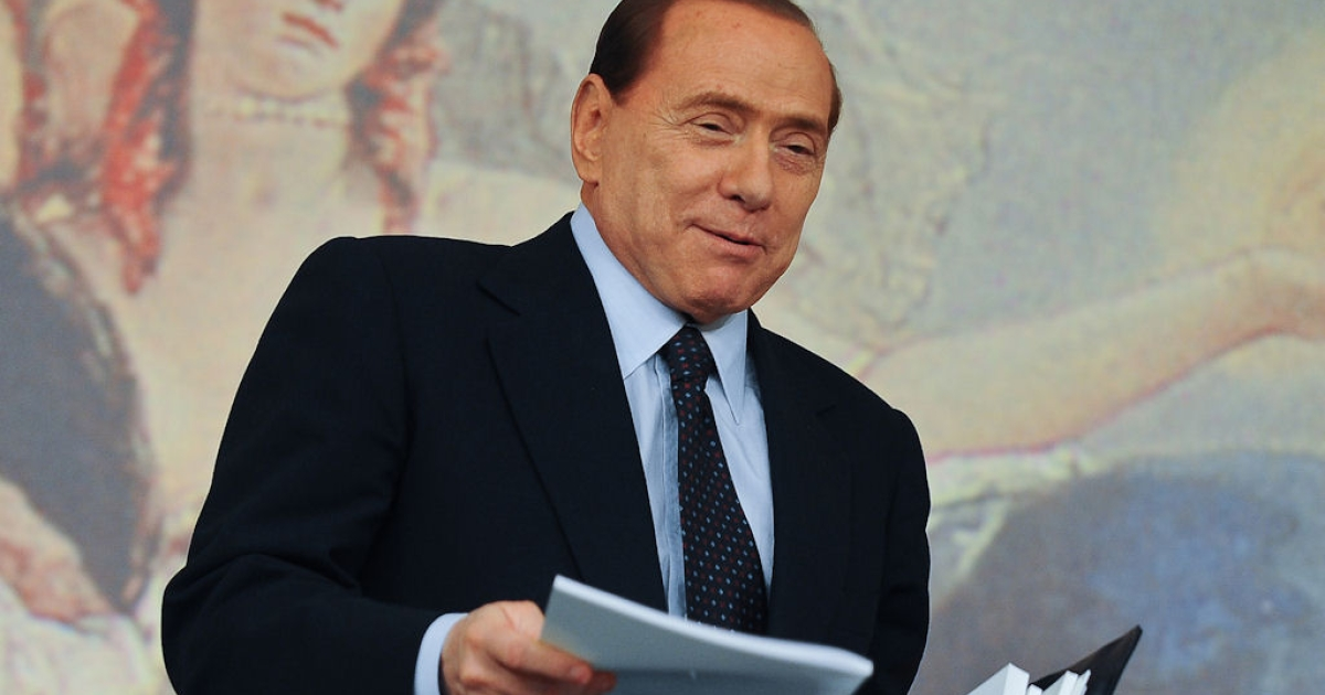 Italian Prime Minister Silvio Berlusconi at the end of a news conference held at Chigi palace in Rome the end of the minister's council on April 13, 2011.</p>