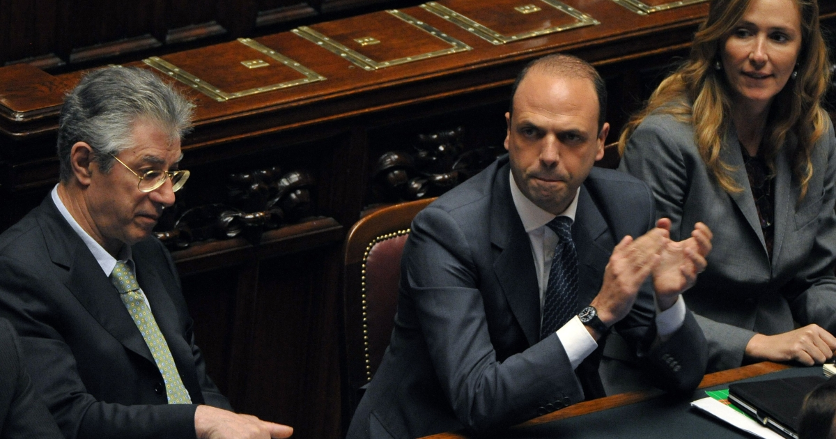 Italian Justice Minister Angelino Alfano (C) after a final vote on April 13, 2011 at the Rome's Montecitorio palace, during a debate in the Lower House about a law that would cut the statute of limitations in certain cases of trials. The law if passed by both houses could effectively halt Berlusconi's ongoing bribery trial where he is accused of bribing British lawyer David Mills.</p>