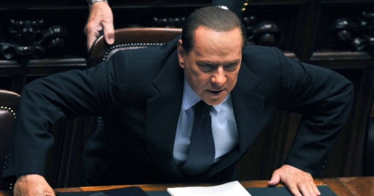 Italian Prime Minister Silvio Berlusconi in Rome, on October 14, 2011 prior to the start of a confidence vote session. Berlusconi won the crucial confidence vote amid infighting in his ruling coalition as well as growing criticism over his handling of the economy and mounting legal scandals.</p>