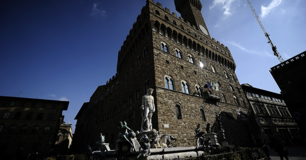 Florence's most famous palace, the Palazzo Vecchio, on March 8, 2010.</p>