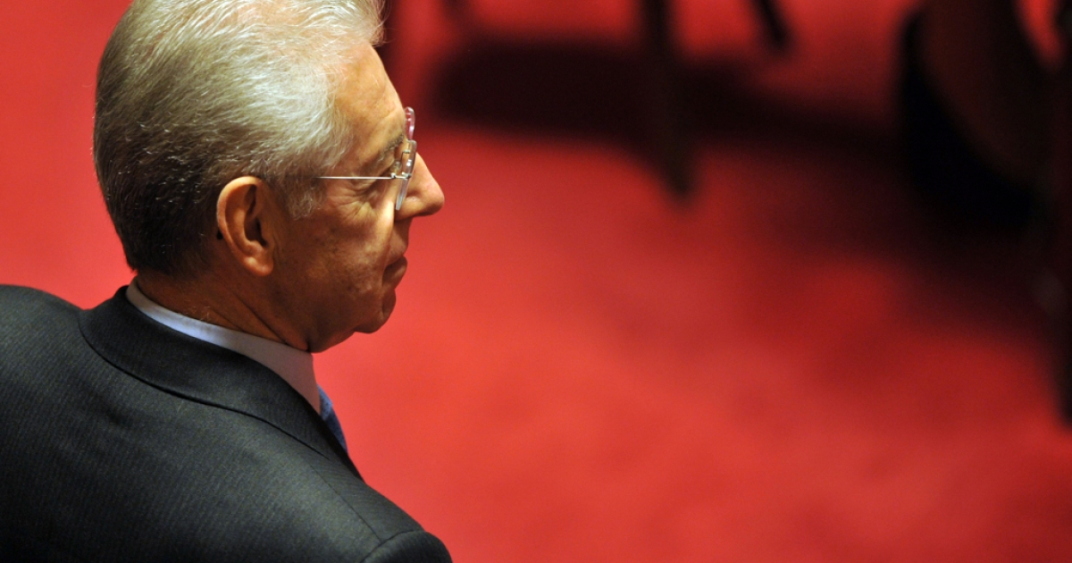Mario Monti at the Senate in Rome on Nov. 11, 2011.</p>