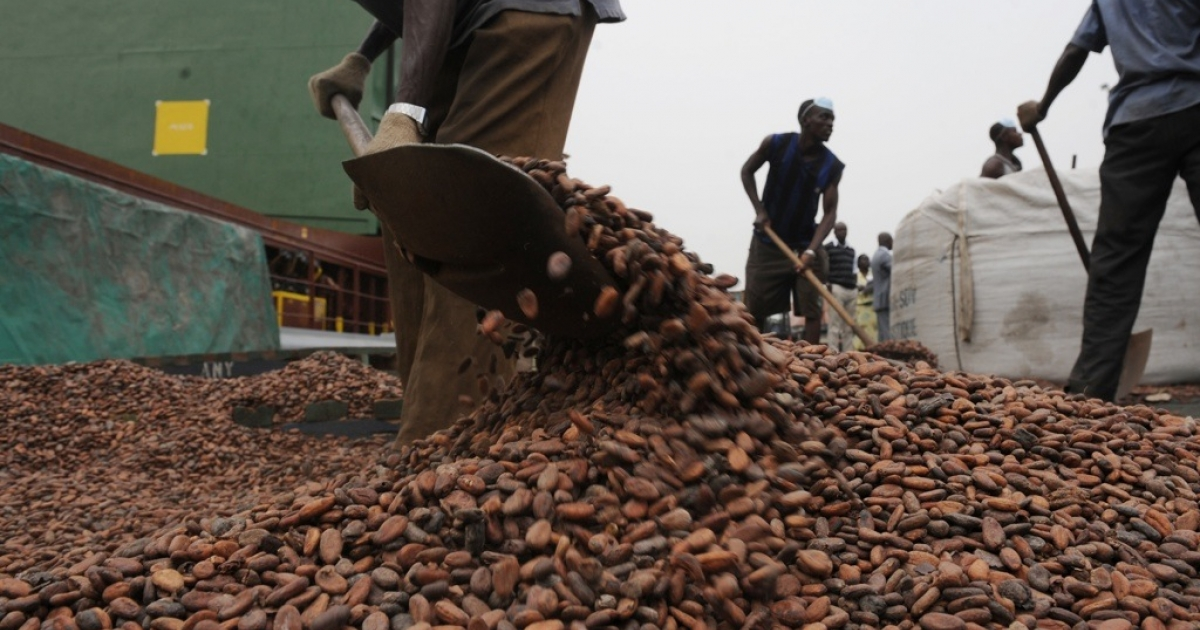 The United States could boost the economic development of the world's poorest countries by allowing them to freely export their goods to U.S. markets. Here, workers load bags with cocoa beans on January 18, 2011 at the Port of Abidjan where 80% of Ivory Coast's exports transit.</p>