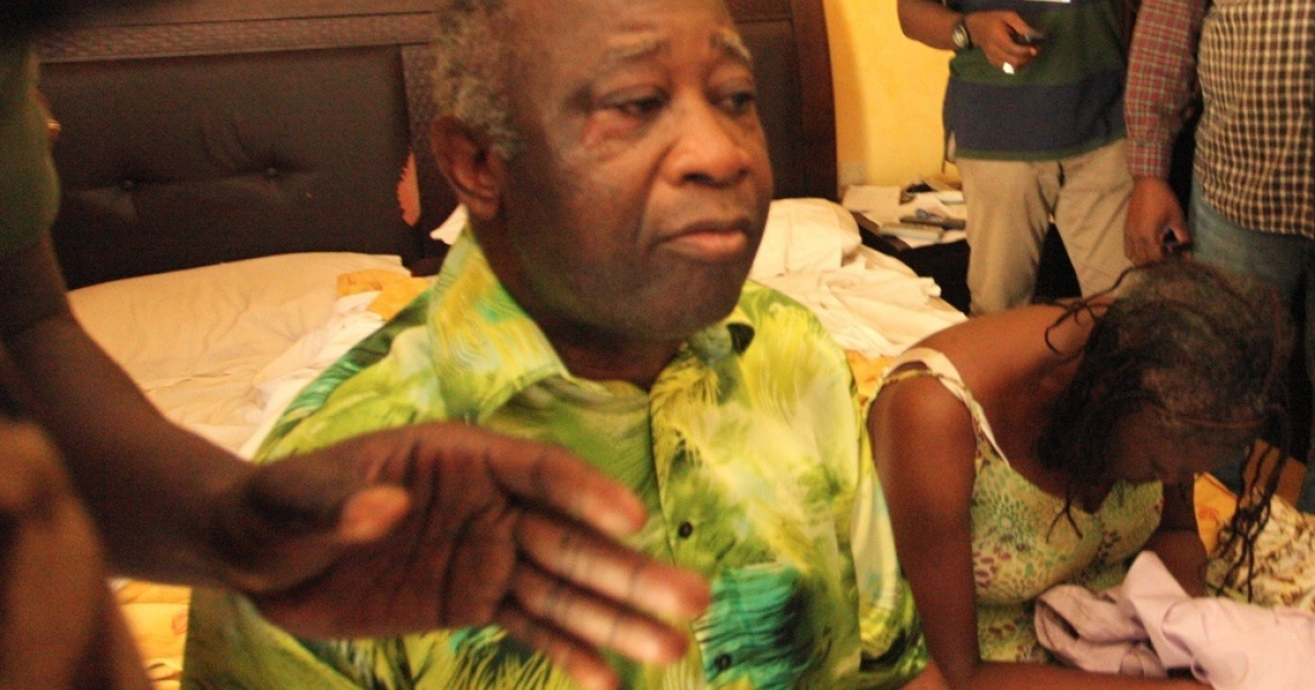 Ivory Coast strongman Laurent Gbagbo and his wife Simone sit on a bed after arriving at the Hotel du Golf in Abidjan after their arrest on April 11, 2011. Ivory Coast leader Alassane Ouattara's forces, backed by French and UN troops, captured Gbagbo in Abidjan at the climax of a deadly five-month crisis. Gbagbo, who has held power since 2000 and stubbornly refused to admit defeat in November's presidential election, was detained and taken to his rival's temporary hotel headquarters, with his wife Simone and son Michel.</p>