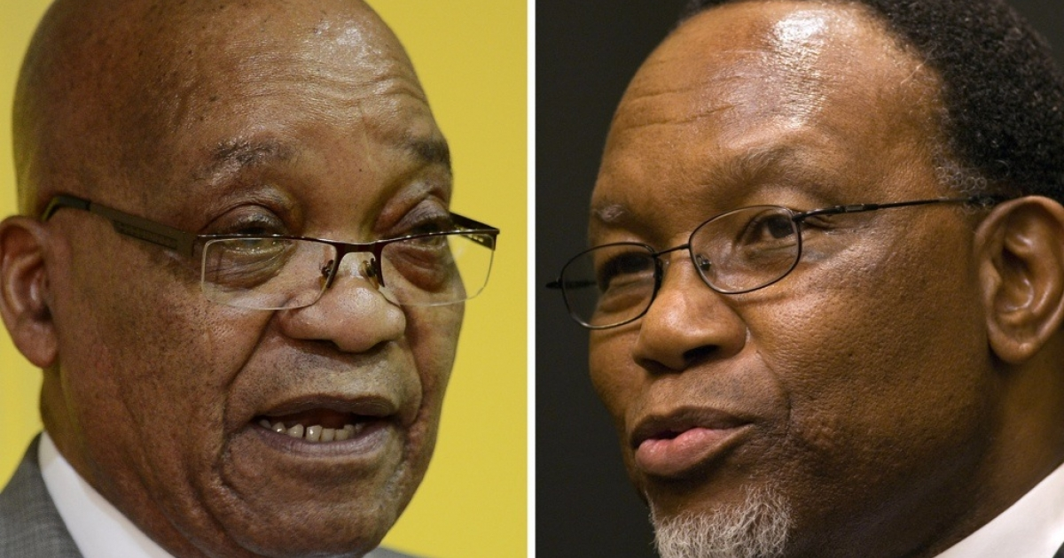 South African President Jacob Zuma (L) and his challenger Kgalema Motlanthe (R). The two men are vying to lead the African National Congress, and likely the country, during the ANC conference on Dec. 16.</p>