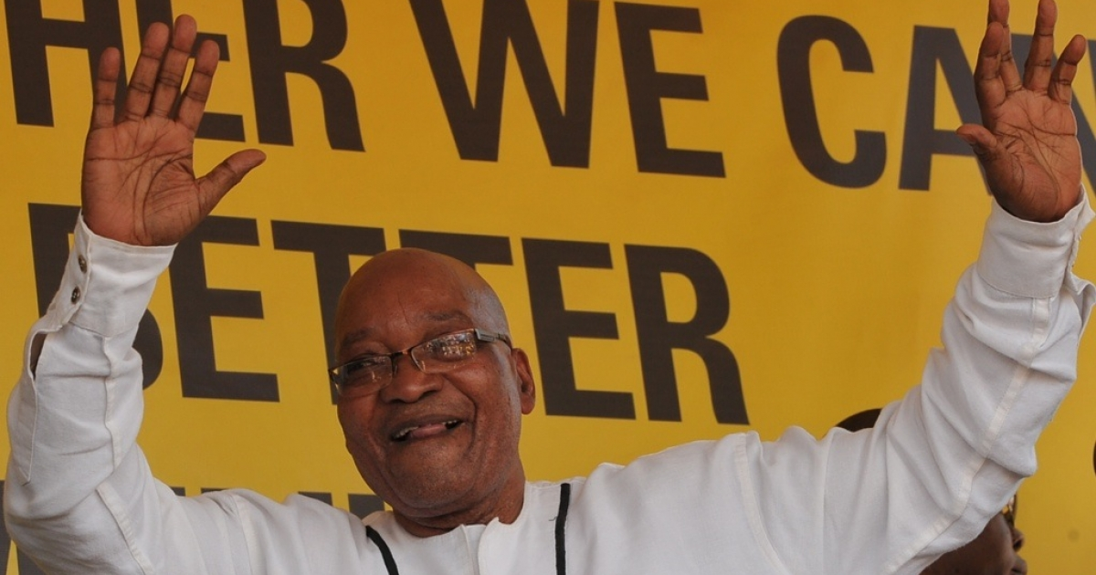 South Africa President Jacob Zuma speaks on Jan. 6, 2012 in Botshabelo, South Africa.</p>
