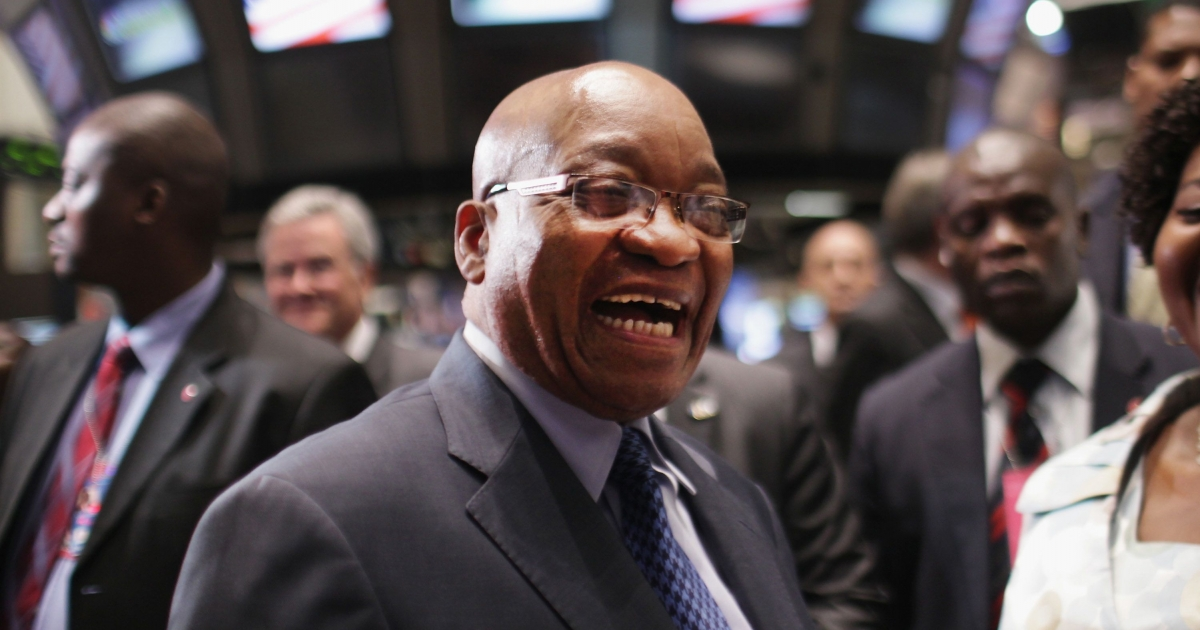 Jacob Zuma, South Africa's president, visits Wall Street and the New York Stock Exchange on September 19, 2011 in New York City.</p>