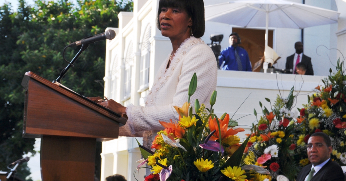 Portia Simpson Miller at her swearing in as Prime Minister of Jamaica yesterday. She called for a Jamaican to replace Britain's Queen Elizabeth II as the country's ceremonial head of state.</p>