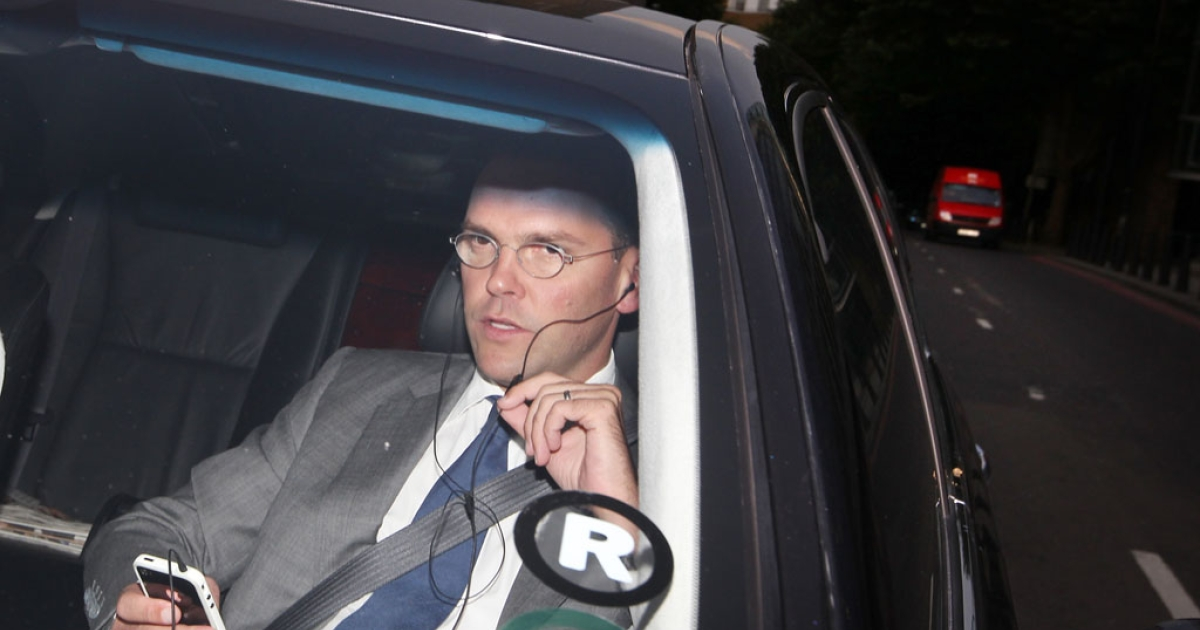 James Murdoch, Chairman and Chief Executive of News Corp. leaves News International headquarters after it was announced that the News of the World newspaper  was to close on July 7, 2011 in London, England.</p>