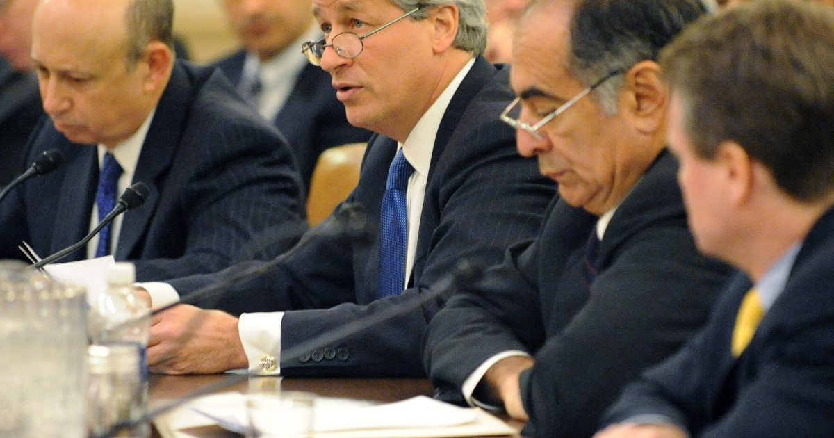 (L-R) Lloyd Blankfein, CEO of Goldman Sachs Group, Inc., Jamie Dimon, CEO of JPMorgan Chase &amp; Company, John Mack, former CEO of Morgan Stanley and Brian Moynihan, CEO and president of the Bank of America Corporation during the first public hearing of the Financial Crisis Inquiry Commission. The commission was formed to investigate the causes of the financial crisis.</p>