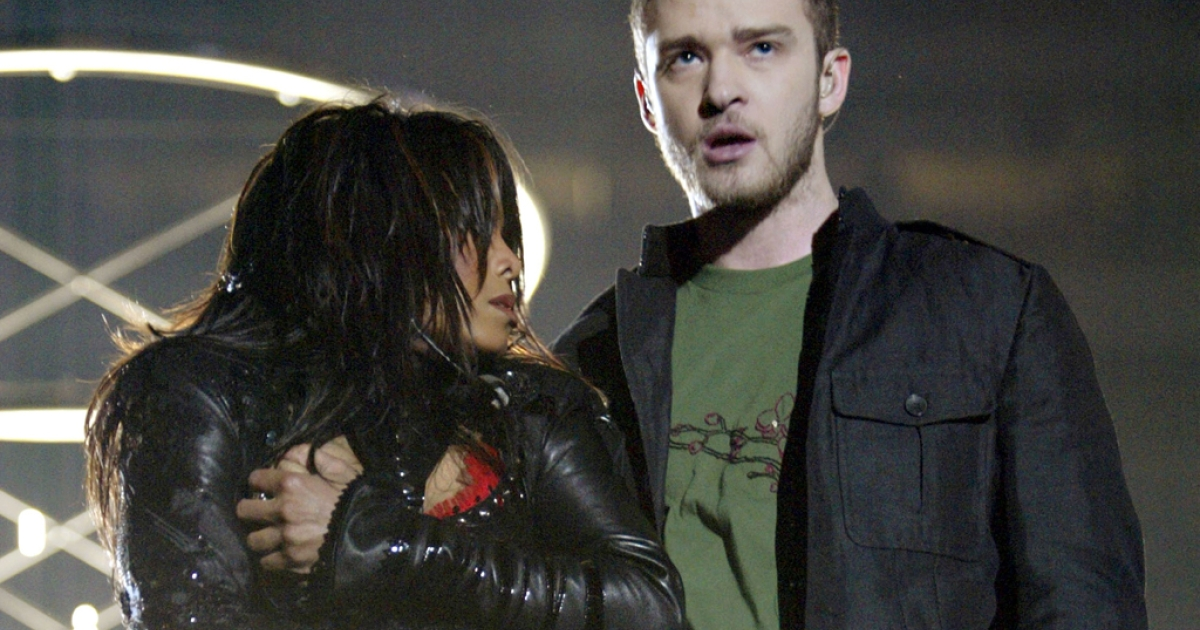 Singers Janet Jackson and surprise guest Justin Timberlake perform during the halftime show at Super Bowl XXXVIII between the New England Patriots and the Carolina Panthers at Reliant Stadium on February 1, 2004 in Houston, Texas.  At the end of the performance, Timberlake tore away a piece of Jackson's outfit.</p>