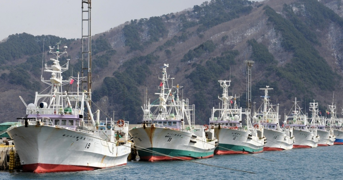 Fishing trawlers that survived the March 11 earthquake and tsunami are docked along the port of Miyako in Japan.</p>