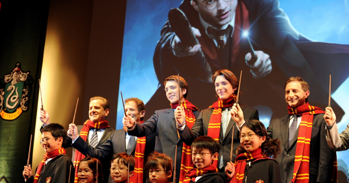 Twin actors James and Oliver Phelps, who played as Fred and George Weasley in all Harry Potter movies, during an announcement at a press presentation in Osaka on May 10, 2012.  Universal Studios Japan unveiled plans to build the first international version of the theme park