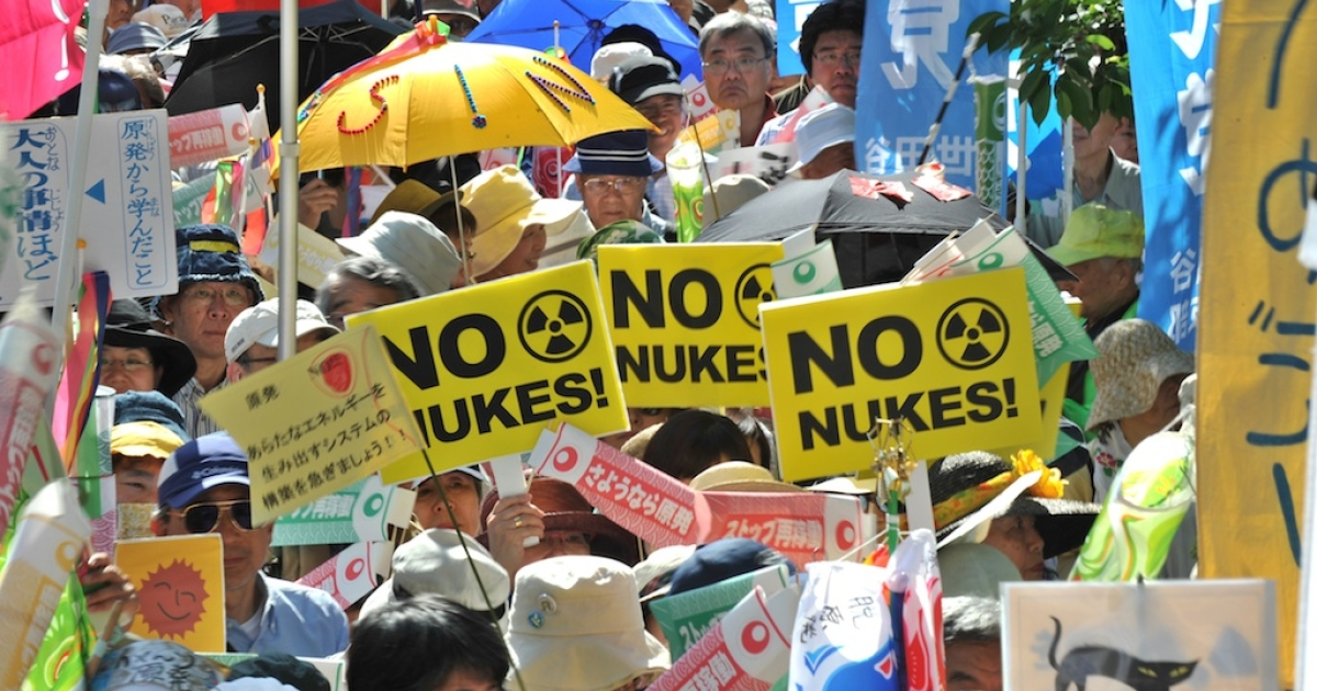 Japanese gather at an anti-nuclear demonstration in Tokyo today, which is also Children's Day, calling for a safer future for younger generations.</p>