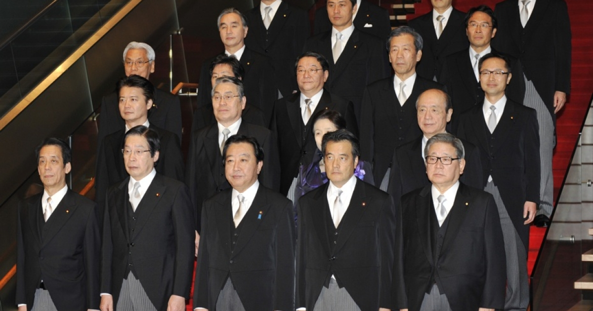 Japanese Prime Minister Yoshihiko Noda (C, front) and his cabinet members pose during a photo session after their first cabinet meeting at the prime minister's official residence in Tokyo on January 13, 2012. Japan's premier reshuffled his cabinet just four months into the job in a bid to rescue his plans to raise sales tax and dig the country out from under its mountain of debt.</p>