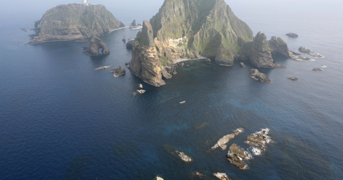 An area view shows the Liancourt Rocks, the disputed island that are known as Dokdo in South Korea and Takeshima in Japan.</p>
