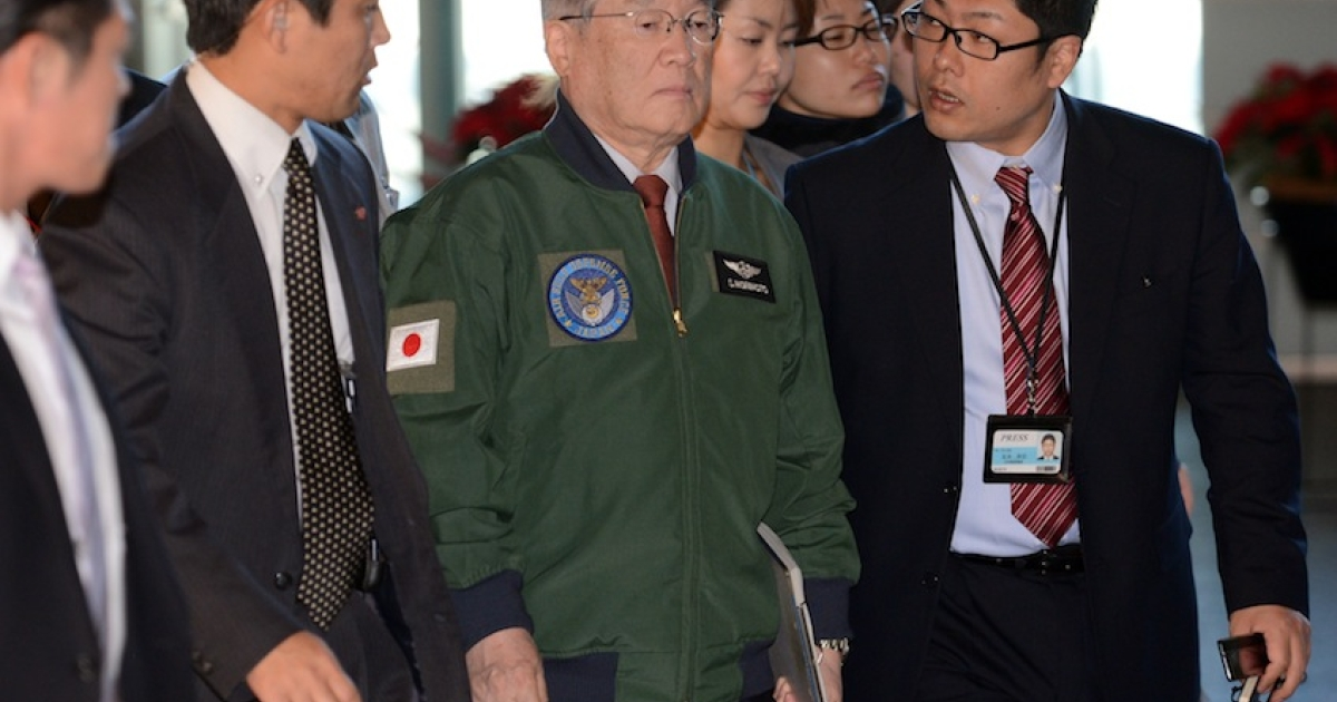Japan's Defense Minister Satoshi Morimoto (C) is surrounded by reporters upon his arrival at the prime minister's official residence in Tokyo to attend a meeting of the Security Council on December 12, 2012.  North Korea successfully launched a long-range rocket in defiance of UN sanctions threats over what Pyongyang's critics have condemned as a disguised ballistic missile test.  Japan did not try to shoot down a North Korean rocket as it passed over its southern island chain of Okinawa, the government said on December 12, strongly condemning the launch.</p>