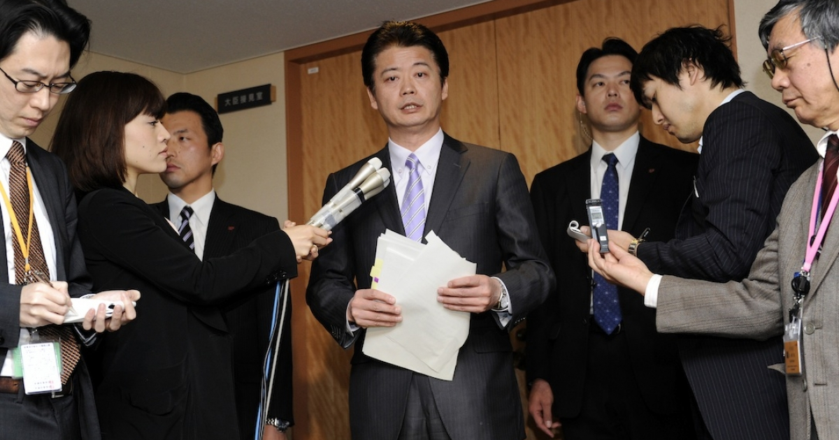 Japanese Foreign Minister Koichiro Gemba speaks to reporters at his office in Tokyo on December 27, 2011 as the Japanese government decided to approve the easing of decades-old ban on arms exports.</p>
