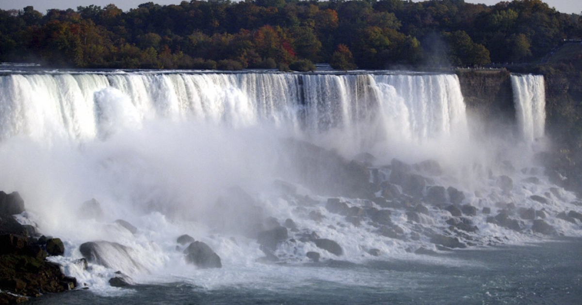 Niagara Falls as seen from the Canadian side. A Japanese woman is presumed dead after climbing over a railing by the Niagara Falls, losing her footing and tumbling in.</p>
