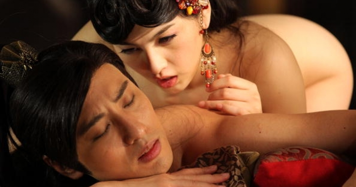 Actress Saori Hara (top) and actor Hiro Haayana (bottom) of Japan perform for the camera during filming on the set of '3-D Sex and Zen: Extreme Ecstacy' in Hong Kong on August 13, 2010.</p>