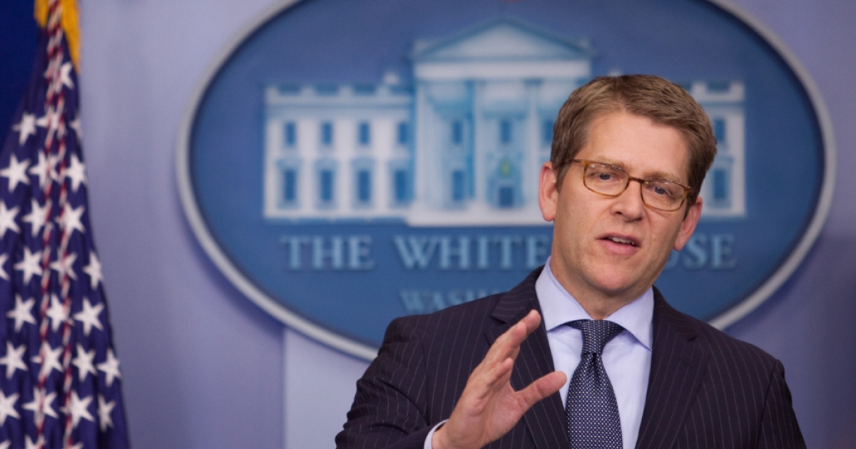 White House Press Secretary Jay Carney speaks during the daily briefing at the White House in Washington, DC, on Dec. 11, 2012.</p>