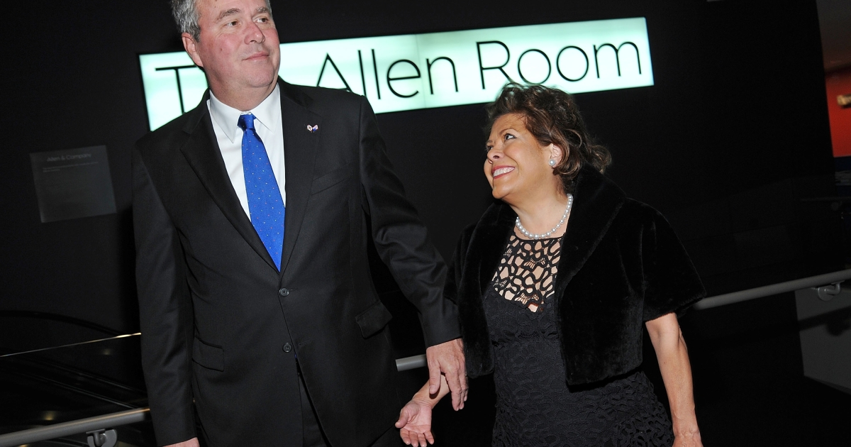 Former Fla. Gov. Jeb Bush and wife, Columba Bush, attend the 2012 Lincoln Center Institute Gala at Jazz at Lincoln Center in New York City on Mar. 7, 2012.</p>