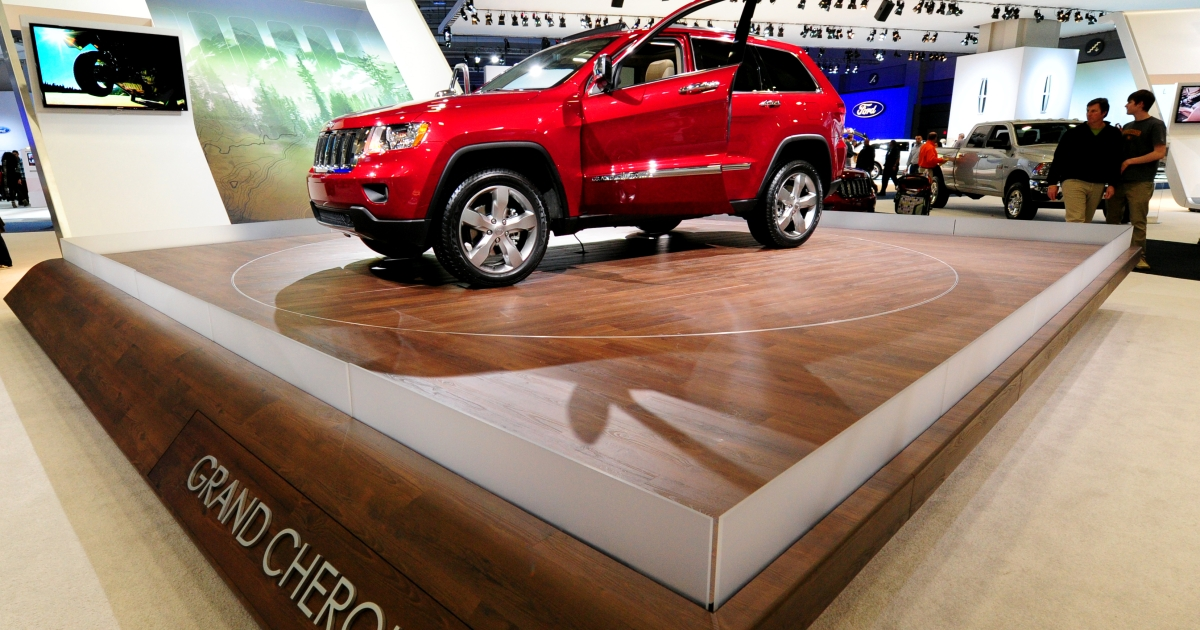 A Jeep Grand Cherokee on display at the 2012 Washington Auto Show in Washington, DC. Jeep's Grand Cherokee is especially popular in China even though it can cost nearly $190,000 to drive home.</p>