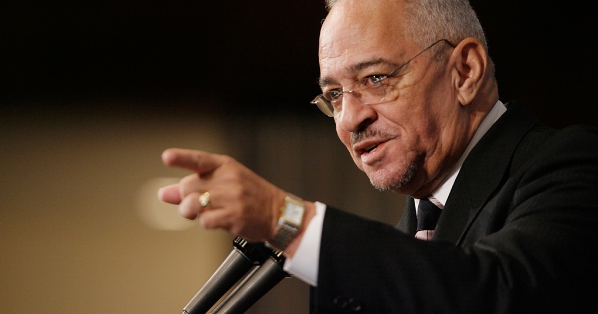 Rev. Jeremiah Wright, former pastor of the Trinity United Church of Christ in Chicago, Illinois, addresses the National Press Club April 28, 2008 in Washington, DC. Wright was Democratic presidential hopeful Sen. Barack Obama's pastor for many years and he recently came under scrutiny when excerpts of one of his sermons showed him saying,