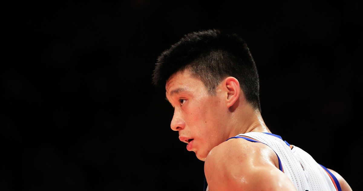 Jeremy Lin, #17 of the New York Knicks, at Madison Square Garden on Feb. 15, 2012 in New York City.</p>