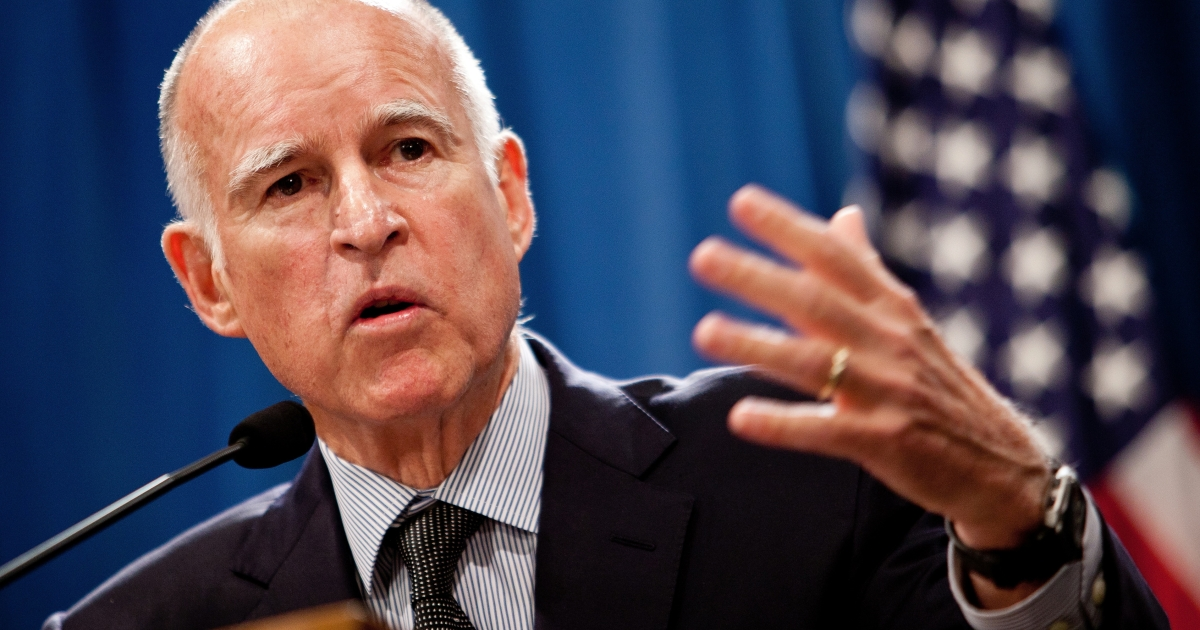 California Gov. Jerry Brown announces his public employee pension reform plan at the State Capitol in Sacramento, Calif., on Oct. 27, 2011.</p>