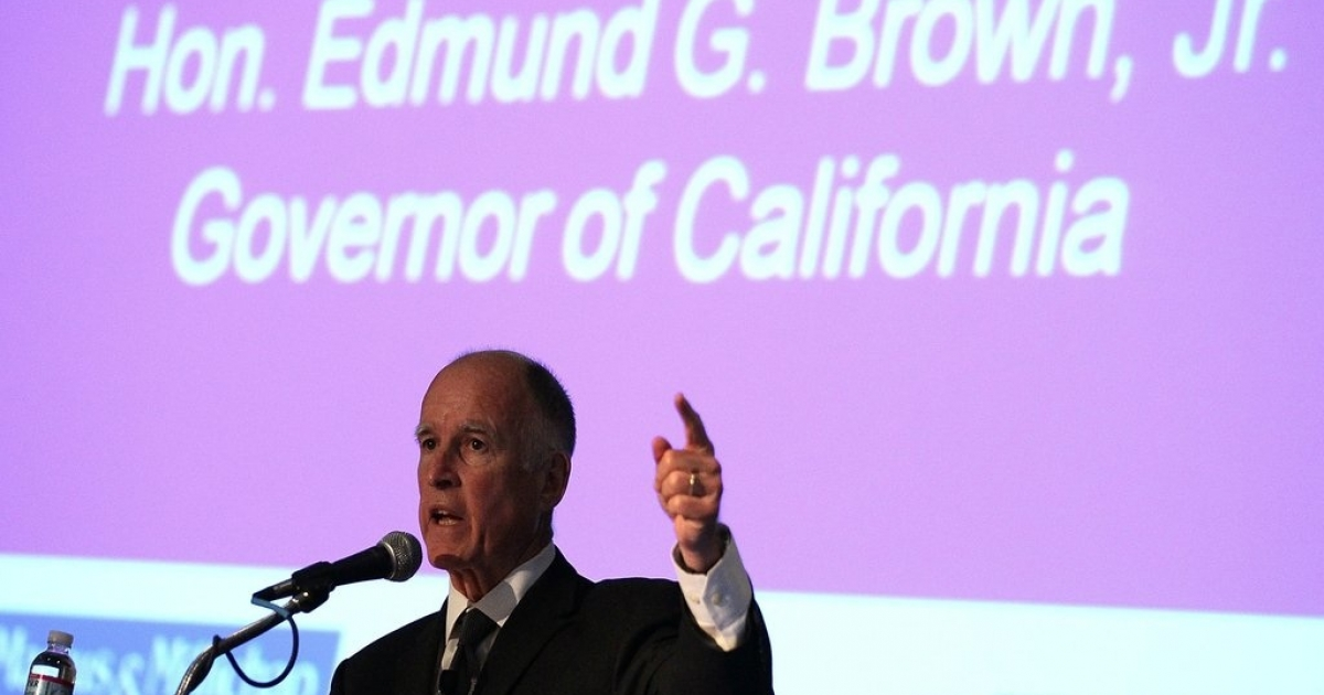 California Governor, Jerry Brown at a conference earlier this year. Gov. Brown signed the landmark bill on Thursday, July 14, making California the first U.S. state where public schools are required to acknowledge the contributions of gay, lesbian, bisexual and transgender Americans.</p>