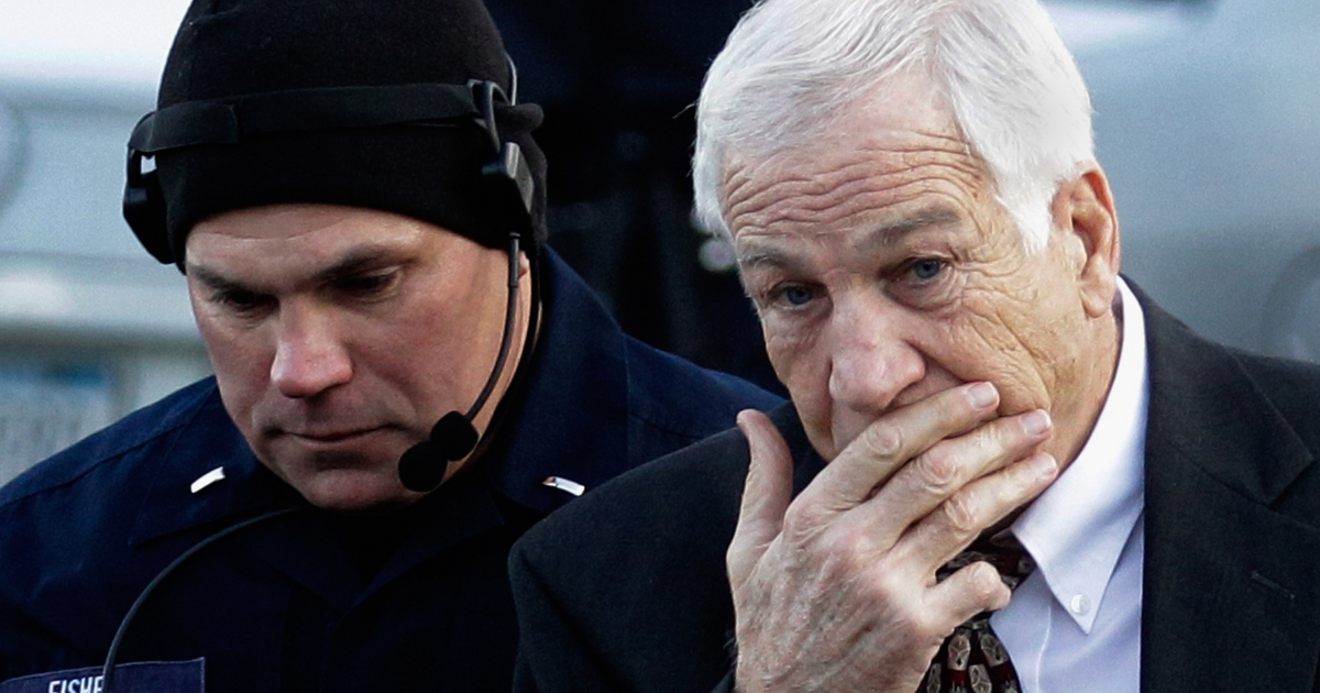 Former Penn State assistant football coach Jerry Sandusky arrives at the Centre County Courthouse on December 13, 2011 in Bellefonte, Pennsylvania. Sandusky was attending a prelininary hearing on charges he sexual abused 10 boys.</p>