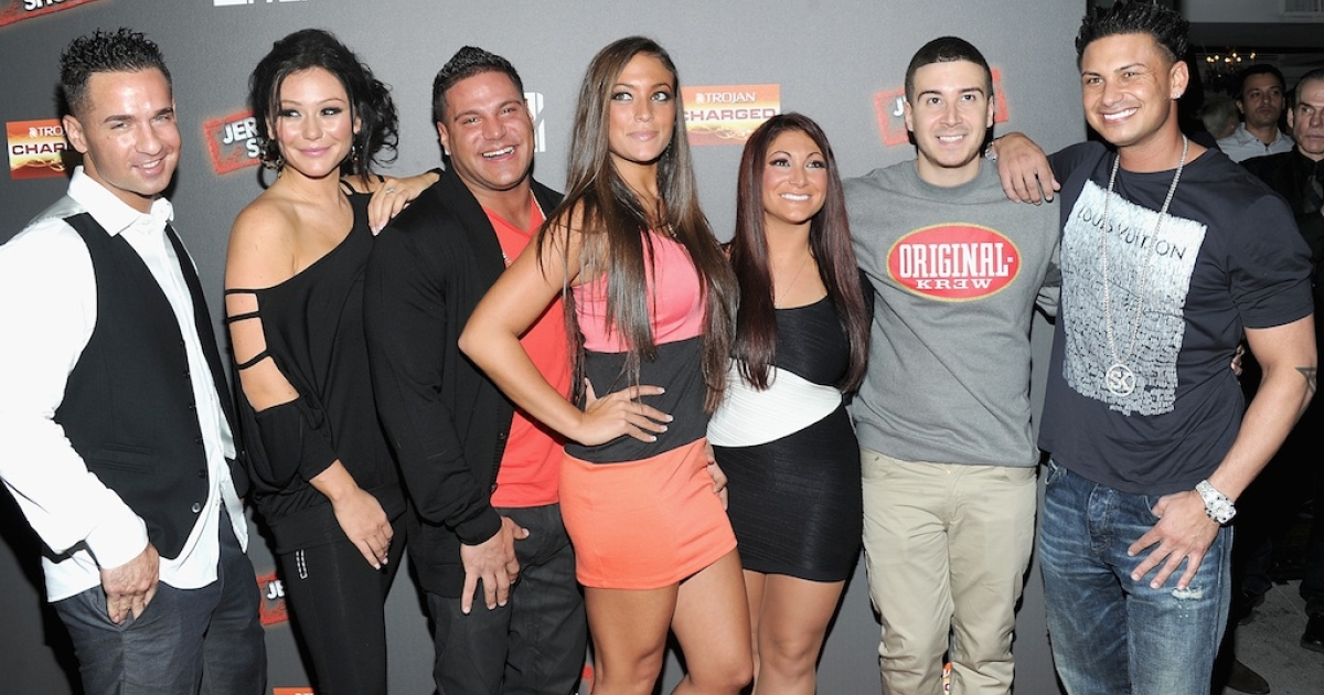 Mike 'The Situation' Sorrentino, Jenni 'J Woww' Farley,Ronnie Ortiz-Magro,Sammi 'Sweetheart' Giancola,Deena Nicole Cortese,Vinny Guadagnino and Paul 'Pauly D' DelVecchio attend the 'Jersey Shore' Final Season Premiere at Bagatelle on October 4, 2012 in New York City.</p>