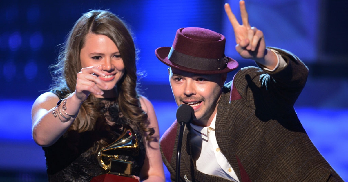 Jesse &amp; Joy accept an award during the 13th annual Latin Grammy Awards on November 15, 2012, at Mandalay Bay Events Center in Las Vegas.</p>