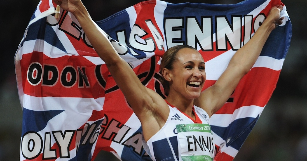 Jessica Ennis of Great Britain celebrates winning gold in the Women's Heptathlon on Day 8 of the London 2012 Olympic Games at Olympic Stadium on August 4, 2012.</p>