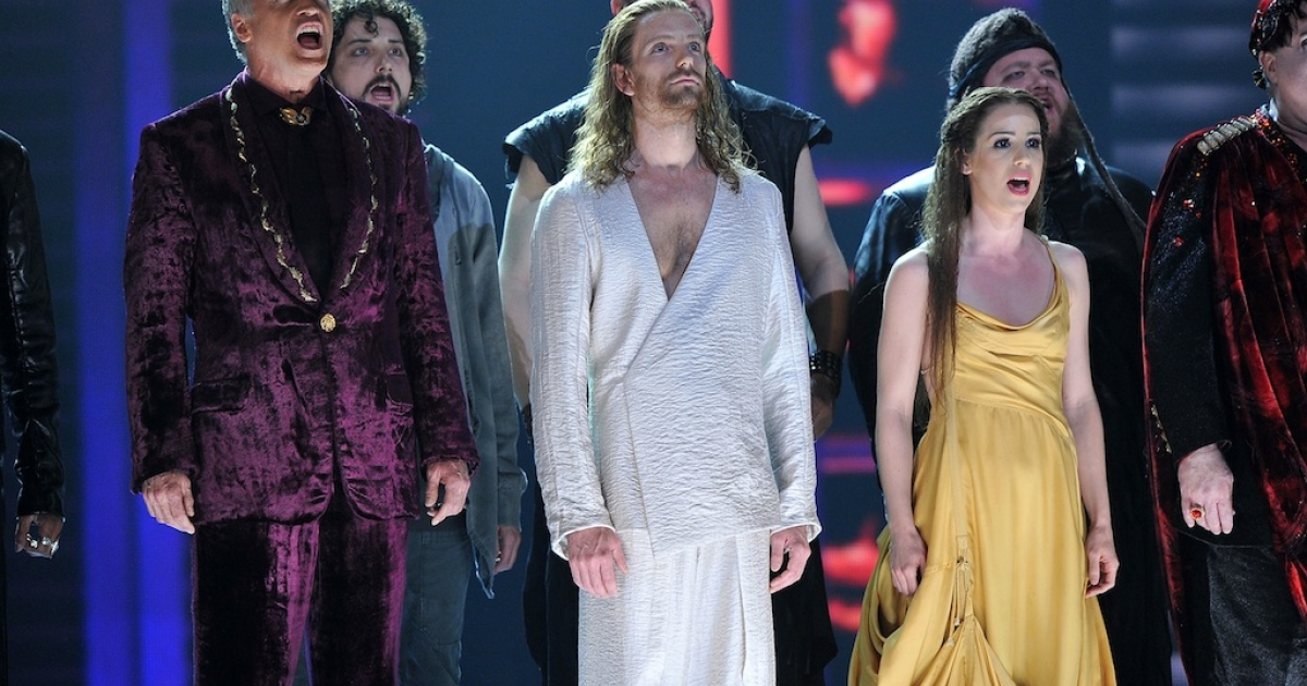 The cast of 'Jesus Christ Superstar' perform onstage at the 66th Annual Tony Awards at The Beacon Theatre on June 10, 2012 in New York City.</p>