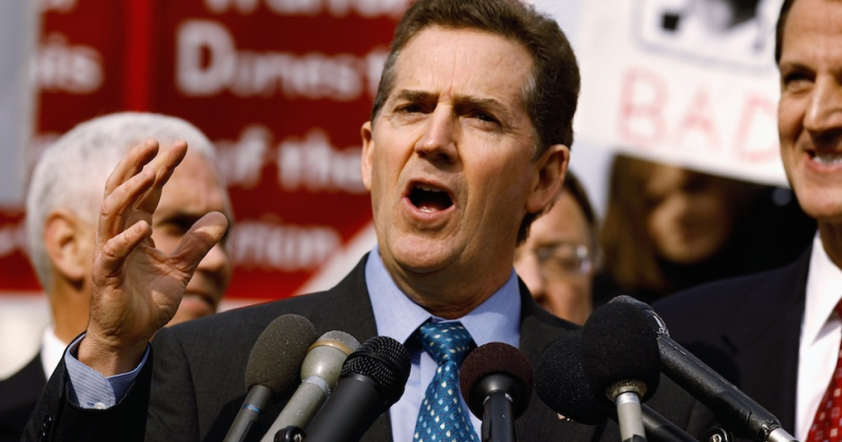 US Sen. Jim DeMint (R-SC) addresses a rally organized by Americans for Progress on Capitol Hill Nov. 15, 2010 in Washington, DC.</p>