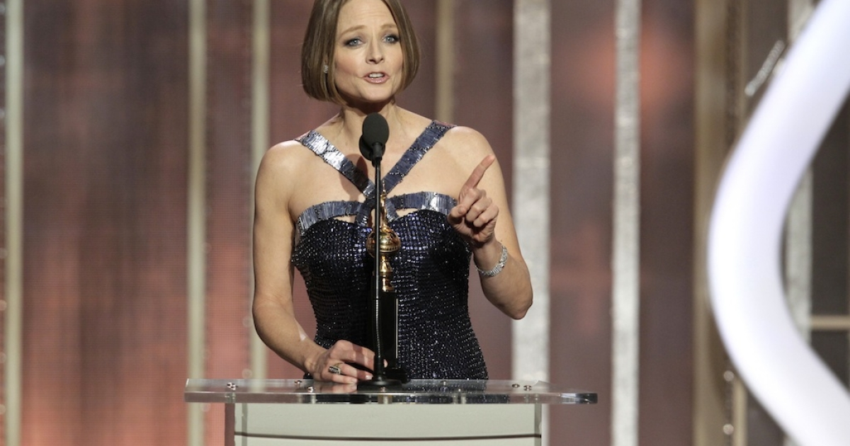 BEVERLY HILLS, CA - JANUARY 13: In this handout photo provided by NBCUniversal,  Actress Jodie Foster receives the Cecil B. Demille Award on stage during the 70th Annual Golden Globe Awards at the Beverly Hilton Hotel International Ballroom on January 13, 2013 in Beverly Hills, California.</p>