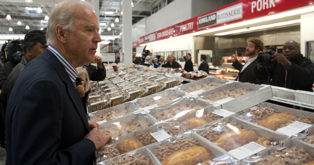 US Vice President Joe Biden shops for pies during a visit to a Costco store in Washington, DC, on November 29, 2012. Biden made the visit to the first Costco store located in Washington, DC, during its grand opening.</p>