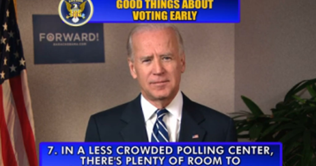 Vice President Joe Biden made an appearance on the Late Show with David Letterman on Thursday, November 1, 2012, to deliver the famed top-10 list.</p>