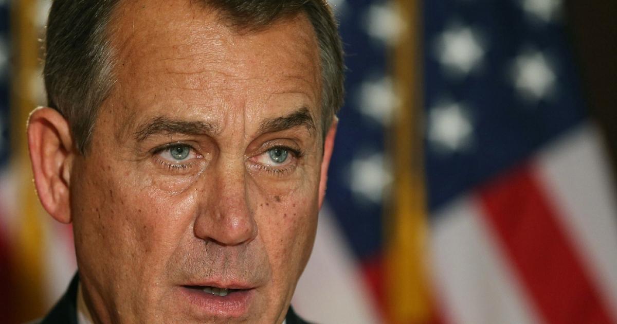 John Boehner makes a statement Dec. 19, 2012 in Washington, DC.</p>